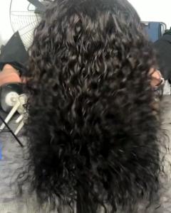 Natural color raw indian deep wave closure wig
