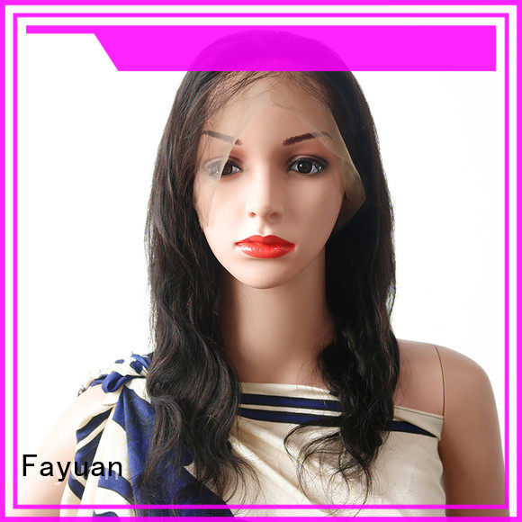Fayuan black curly full lace wigs human hair for business for women