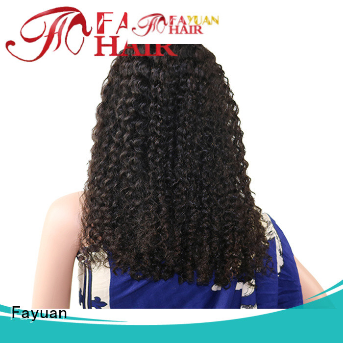 Fayuan Custom long black lace front wig company for street